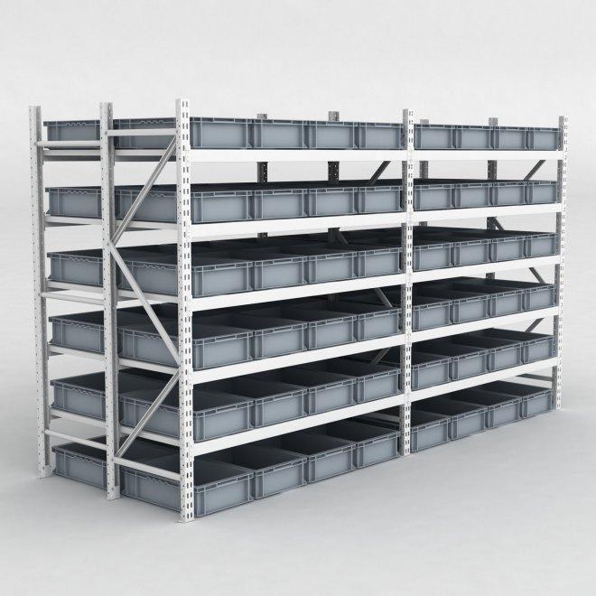 Lagerhylla H: 200 x L: 348 x D: 120 cm inkl. 96 grått plastlådor
