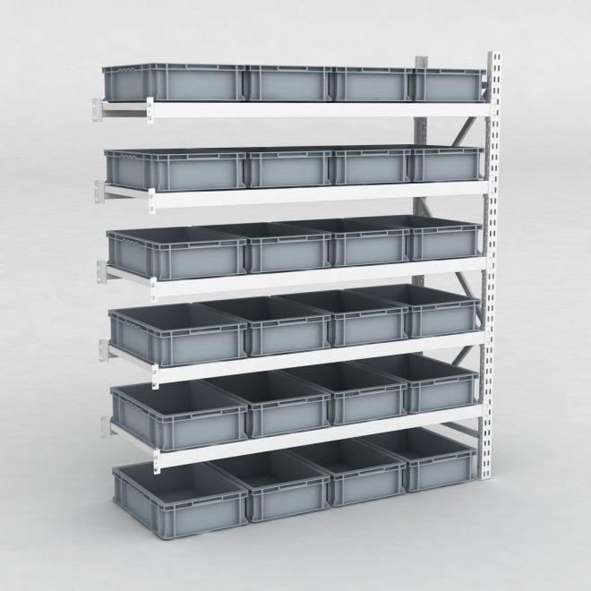Tillbyggnadsdel lagerhylla inkl. 24 grå plastlådor   D: 60 cm