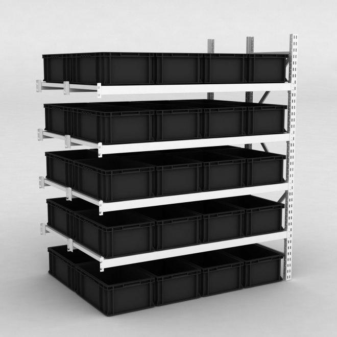 Tillbyggnadsdel lagerhylla inkl. 40 svarta plastlådor | D: 120 cm