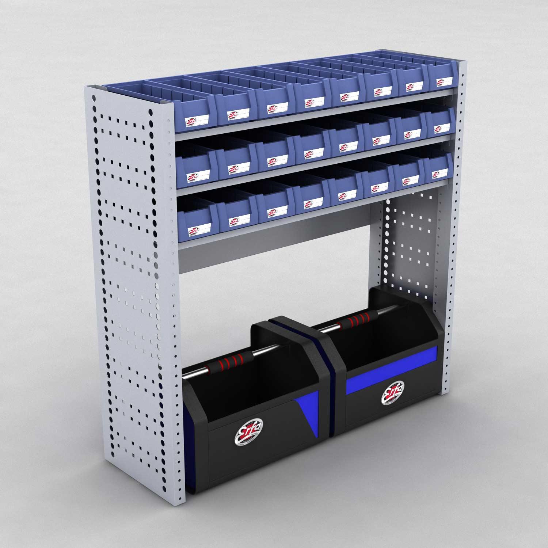 Image of   Bilreol med 24 plastkasser og 2 værktøjskasser - H: 98 x L: 98 x D: 30 cm | Erfa EBI
