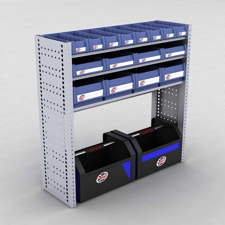 Image of   Bilreol med 16 plastkasser og 2 værktøjskasser - H: 98 x L: 98 x D: 30 cm | Erfa EBI