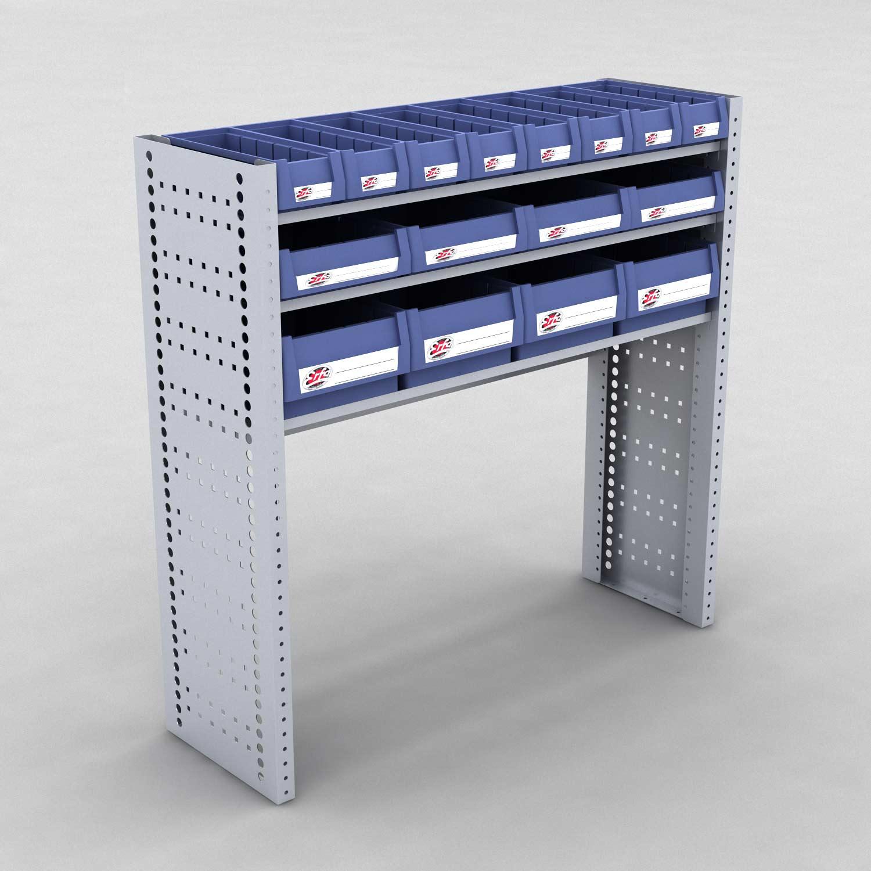 Image of   Bilreol med 16 plastkasser - H: 98 x L: 98 x D: 30 cm | Erfa EBI