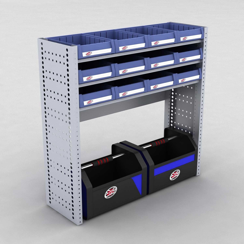 Image of   Bilreol med 12 plastkasser og 2 værktøjskasser - H: 98 x L: 98 x D: 30 cm | Erfa EBI