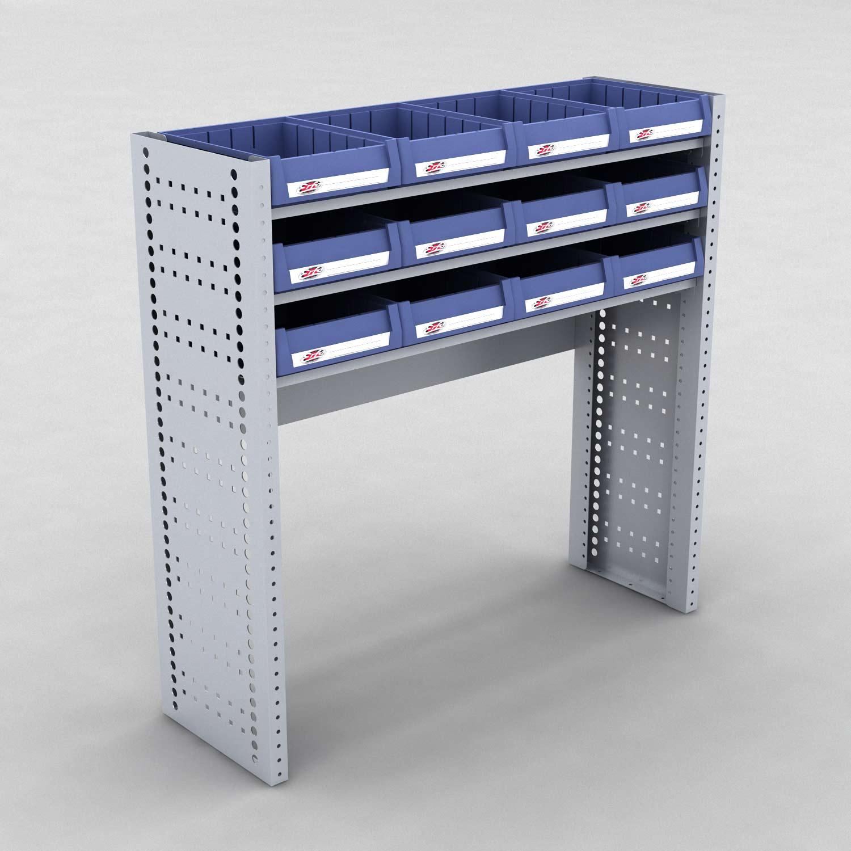 Image of   Bilreol med 12 plastkasser - H: 98 x L: 98 x D: 30 cm | Erfa EBI