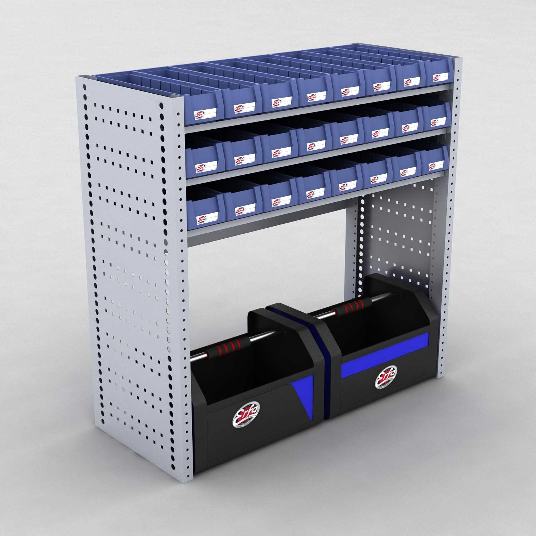 Image of   Bilreol med 24 plastkasser og 2 værktøjskasser - H: 982 x L: 982 x D: 40 cm | Erfa EBI