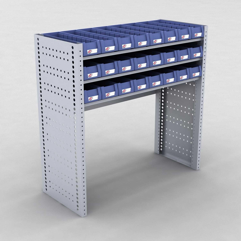 Image of   Bilreol med 24 plastkasser - H: 982 x L: 982 x D: 40 cm | Erfa EBI