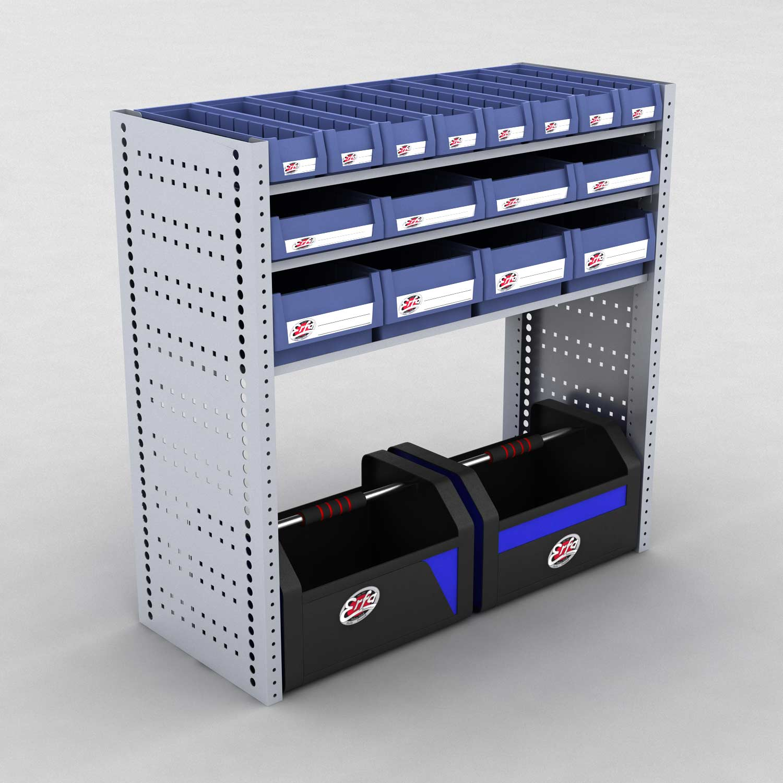 Image of   Bilreol med 16 plastkasser og 2 værktøjskasser - H: 982 x L: 982 x D: 40 cm | Erfa EBI