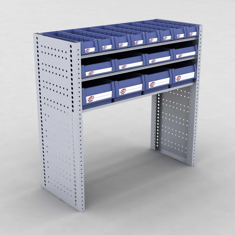 Image of   Bilreol med 16 plastkasser - H: 982 x L: 982 x D: 40 cm | Erfa EBI
