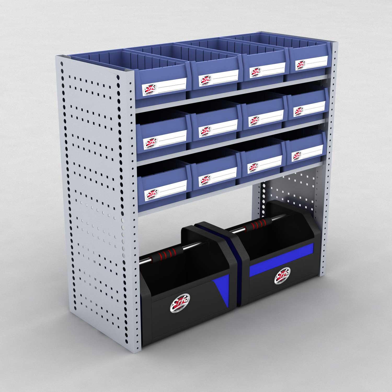Image of   Bilreol med 12 plastkasser og 2 værktøjskasser - H: 982 x L: 982 x D: 40 cm | Erfa EBI