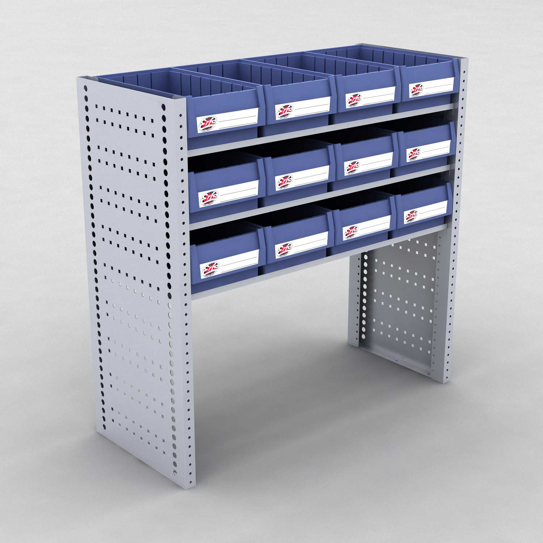 Image of   Bilreol med 12 plastkasser - H: 982 x L: 982 x D: 40 cm | Erfa EBI