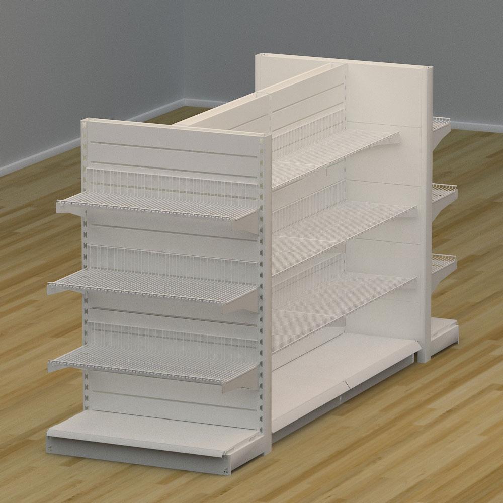 Image of   Butiksreol 4 sidet med trådhylder og rillepanel - H: 150 x L: 307 x D: 94 cm | EBU