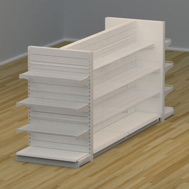 Butikshylla 4-sidig med trådhyllor och spårpanel - H: 150 x L: 359 x D: 94 cm | EBU