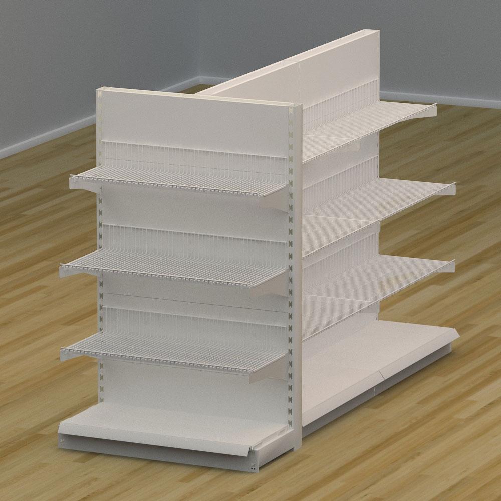 Image of   Butiksreol 3-sidet med trådhylder | H: 150 x L: 307 x D: 94 cm | EBU