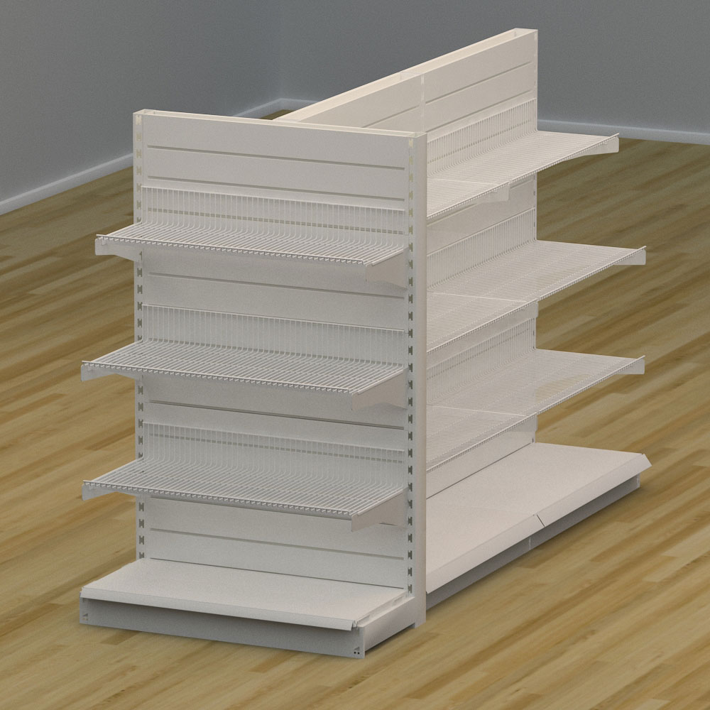 Image of   Butiksreol 3-sidet med trådhylder og rillepanel - H: 150 x L: 242 x D: 94 cm | EBU