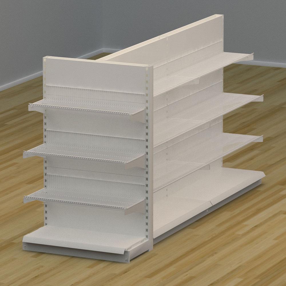 Image of   Butiksreol 3-sidet med trådhylder - H: 150 x L: 302 x D: 94 cm | EBU