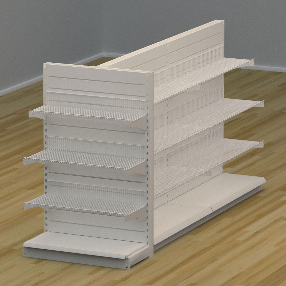 Image of   Butiksreol 3-sidet med rillepanel og trådhylder - H: 150 x L: 302 x D: 94 cm | EBU