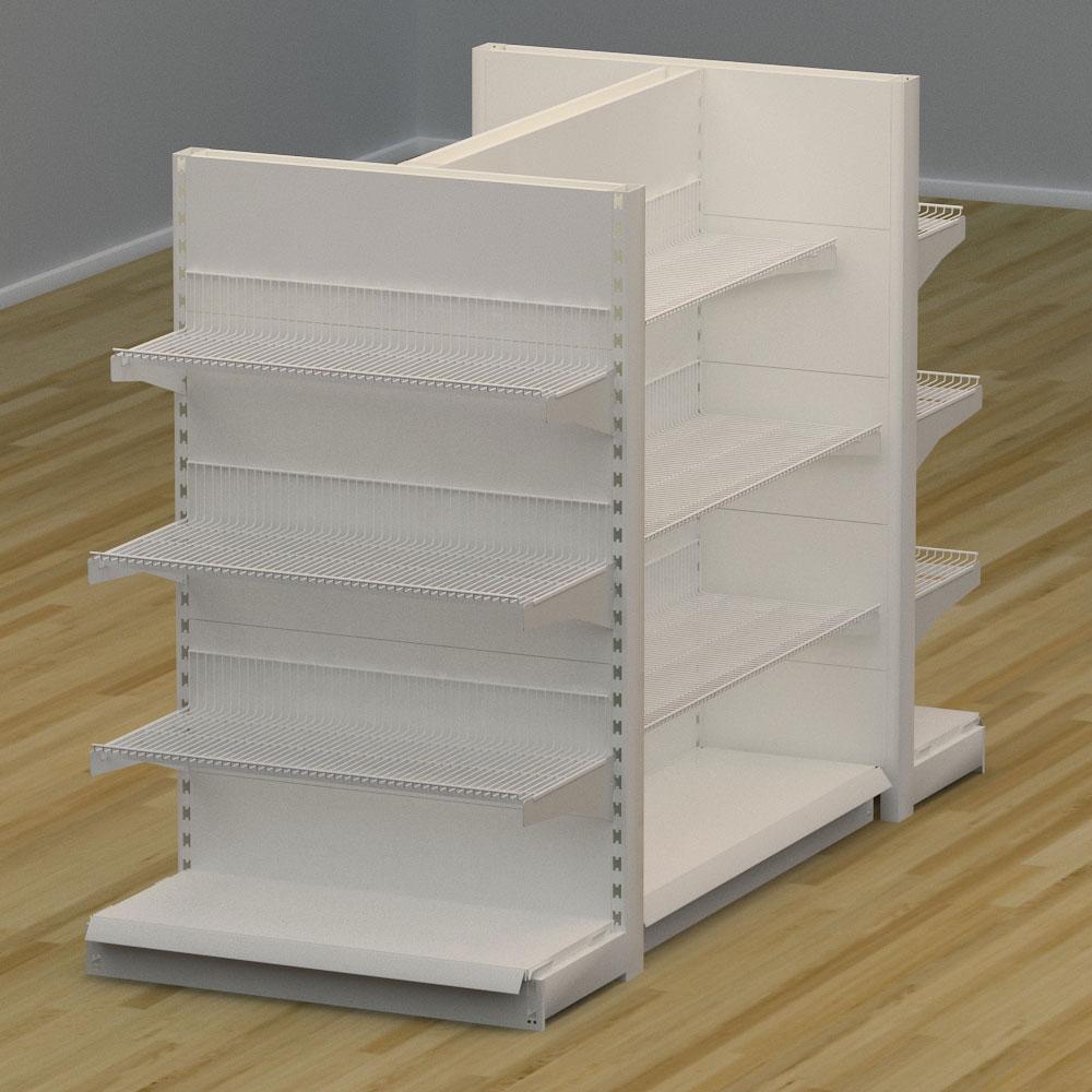 Image of   Butiksreol 4 sidet med trådhylder - H: 150 x L: 224 x D: 94 cm | EBU