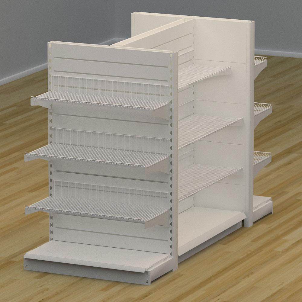 Image of   Butiksreol 4 sidet med trådhylder og rillepanel - H: 150 x L: 224 x D: 94 cm | EBU