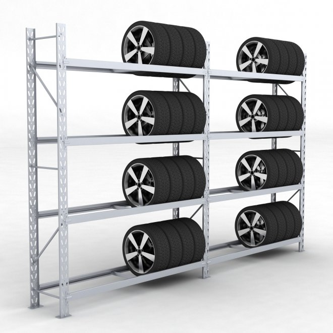 Däckställ 2 fack med 4 bärlag (72 däck) - H: 250 x L: 387 x D: 45 cm