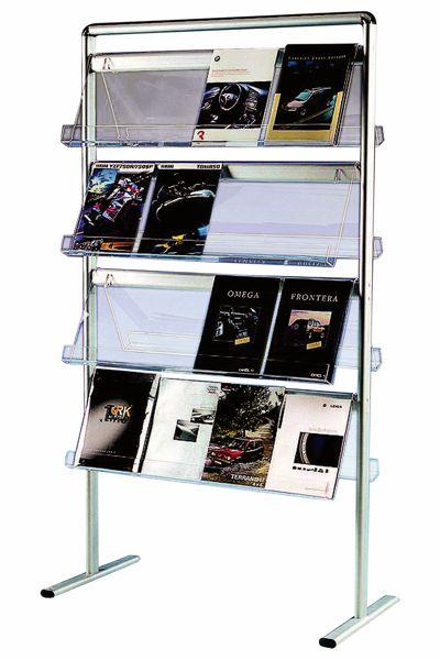 Image of   Brochurestander Multi-info Mega med 4 hylder i akryl (32 stk. A4)