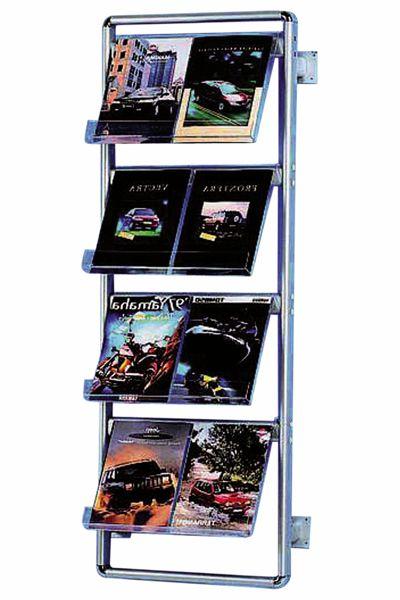 Image of   Brochurestander Multi-info Wall med 4 hylder i akryl (8 stk. A4)