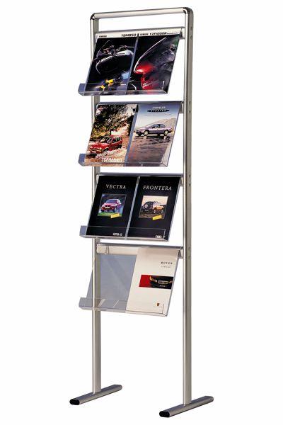 Image of   Brochurestander Multi-info Midi med 4 hylder i akryl (8-16 stk. A4) Dobbeltsidet