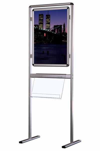 Image of   Brochurestander Multi-info Plakat til A1 og 1 hylde i akryl (2-4 stk. A4) Enkeltsidet