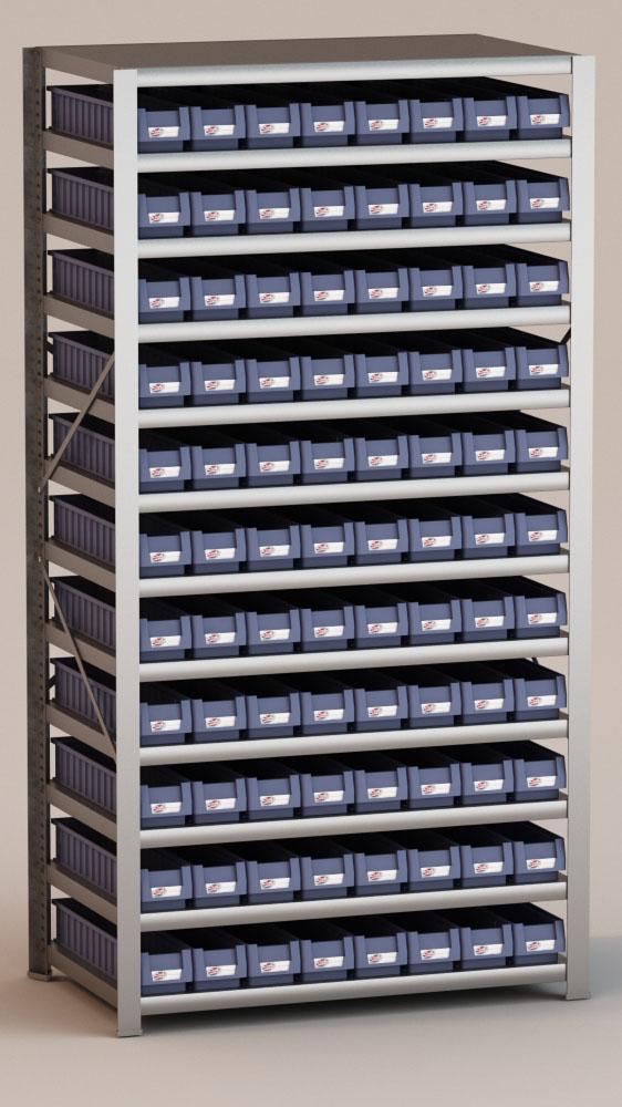 Image of   Arkivreol med 88 plastkasser D: 60 cm