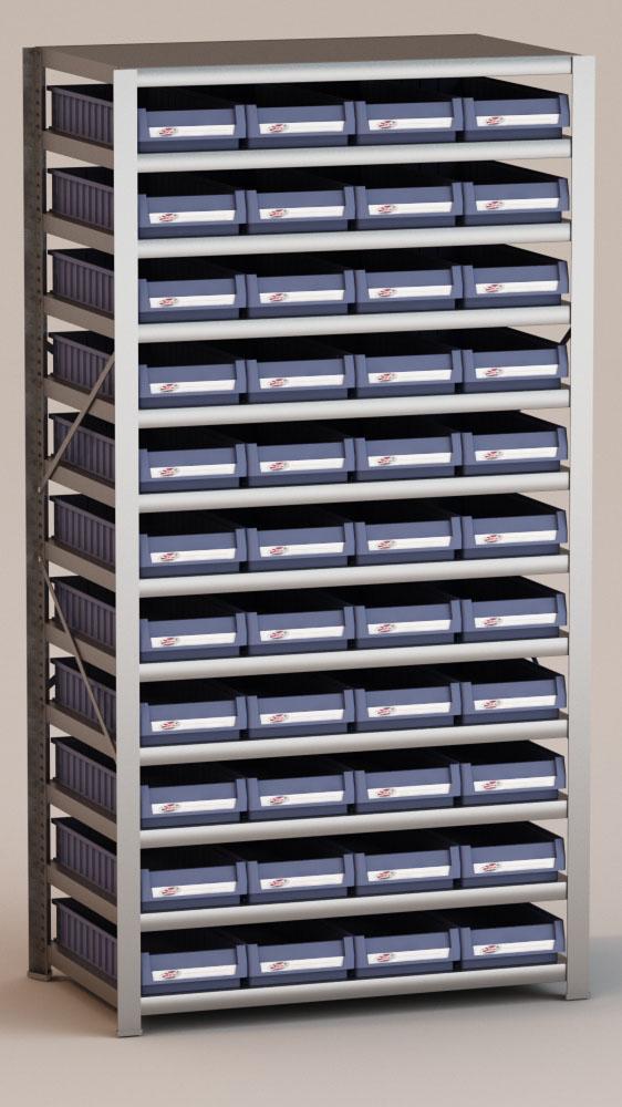Image of   Arkivreol med 44 plastkasser D: 60 cm