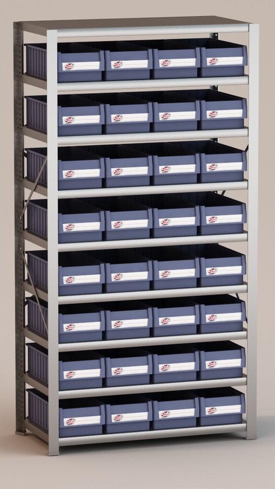 Image of   Arkivreol med 32 plastkasser D: 50 cm