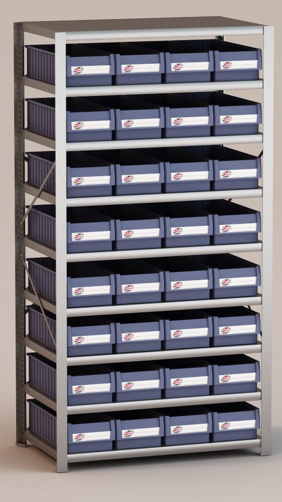Image of   Arkivreol med 32 plastkasser D: 60 cm