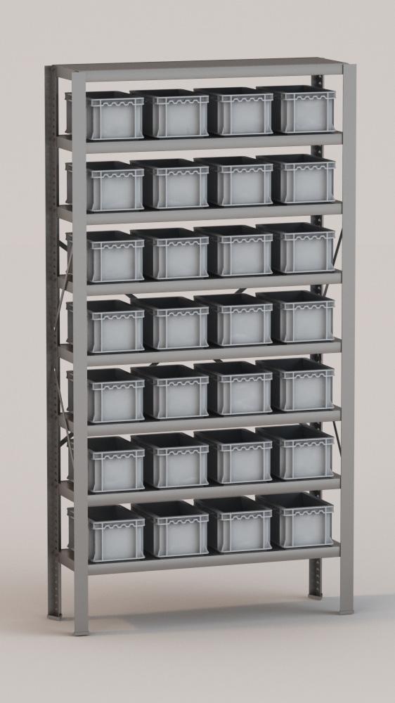 Image of   Arkivreol med 28 plastkasser D: 30 cm